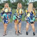Plus Size 5XL Colorful Printed Long Sleeve Mini Dress CYA-1425
