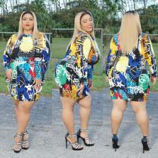 Plus Size 5XL Colorful Printed Long Sleeve Mini Dress CYA-1425