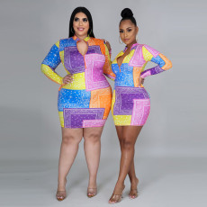 Plus Size 5XL Printed Long Sleeve Mini Bodycon Dress CYA-8866