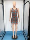 Fashion Plaid Print Sleeveless Vest Mini Dress RUF-8805