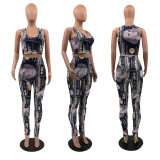 Spring Summer New Casual Dollar Printed Vest And Pants Suit QSF-5046
