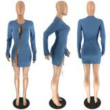 Sexy Hollow Split Long Sleeve Chain Bandage Party Mini Dress RUF-8803