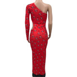 Plus Size Sexy Lip Print Hollow Out Single Sleeve Long Dress NSFF-8030