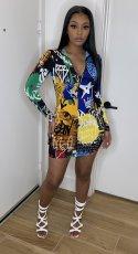 Fashion Graffiti Print Sexy Long Sleeve Zipper Mini Dress YUF-6016