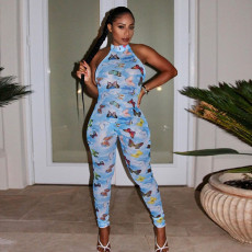 Sexy Butterfly Print One Piece Jumpsuits SZF-9064