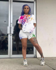 Ink Jet Print T Shirt Shorts Two Piece Sets NLF-8041