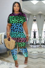 Plus Size Leopard Print Short Sleeve Jumpsuits MF-8072