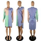 Casual Loose Striped Turndown Collar Shirt Dress YYF-6537