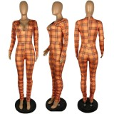 Plaid Print V Neck Long Sleeve Stacked Jumpsuit YYF-6505