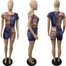 Plus Size Stripe Print Short Sleeve Romper WAF-7140