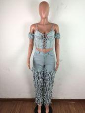 Denim Cascaded Tassel Skinny Jeans LA-3255