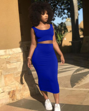 Solid Sleeveless Tank Long Skirt Two Piece Sets LP-6269