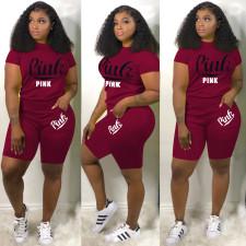 Plus Size Pink Letter Print Two Piece Shorts Set DYF-1059