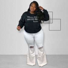Plus Size Letter Print O Neck Sweatshirt Top OSIF-015
