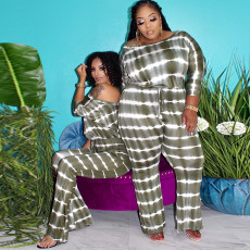 Plus Size Casual Striped One Piece Jumpsuits OSIF-20876