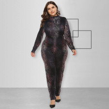 Plus Size Printed Long Sleeve Jumpsuits OSIF-008