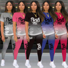 Pink Letter Print T Shirt Pants Two Piece Sets TK-6150