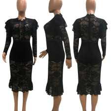 Sexy See Through Long Sleeve Lace Midi Dress YD-8058