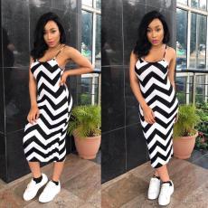 Black White Wave Striped Sexy Sling Dress YYF-6257
