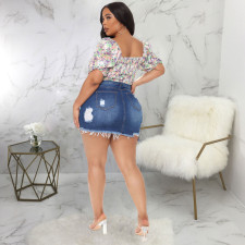 Plus Size Denim Ripped High Waist Irregular Mini Skirt HSF-2413