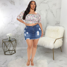 Plus Size Denim Ripped High Waist Irregular Mini Skirt HSF-2413