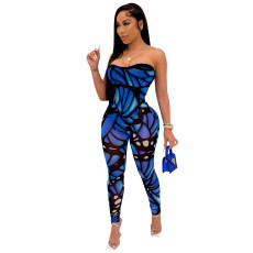 Sexy Tube Top Sleeveless Printed Jumpsuit MIF-9040