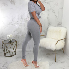 Casual Solid Short Sleeve Two Piece Pants Set SMR-9683_2