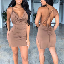 Sexy Backless Spaghetti Strap Split Mini Dress SHE-7134
