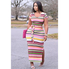 Rainbow Striped Ribbed Split Sashes Maxi Dress GS-2021
