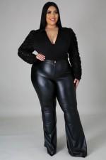 Plus Size Fat MM PU Leather Long Pants OSM2-5274