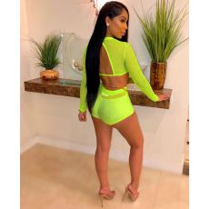Sexy Mesh See Though Long Sleeve 2 Piece Sets Without Chain YD-82247