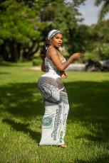 Sexy Dollar Print Slip Maxi Dress With Headscarf SFY-227