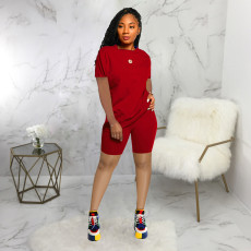 Solid T Shirt And Shorts Two Piece Sets SMR-9683_1