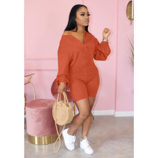 Solid Color Zipper Fashion Casual Long Sleeve Rompers HTF-6057