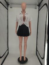 Fashion Sexy Shirt And Pleated Mini Skirt Two Piece Set SMF-8077