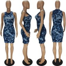 Sexy Sleeveless Printed Mini Dress QMF-7025