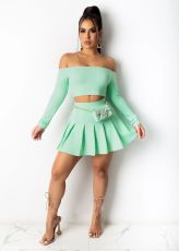 Solid Slash Neck Long Sleeve Top Pleated Mini Skirt 2 Piece Sets BS-1250