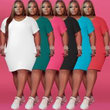 Plus Size 5XL Solid Short Sleeve T Shirt Dress WAF-7149