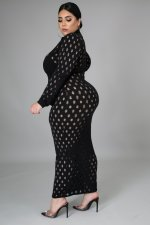 Plus Size 5XL Solid Long Sleeve Hole Maxi Dress OSM2-5278