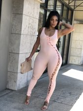 Plus Size Solid Sleeveless Lace Up Tight Jumpsuit CQ-099