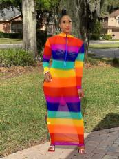 Rainbow Stripe Mesh Sexy Maxi Dress OY-6253