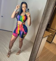 Fashion Casual Print Tie Up Two Piece Sets YLF-8066