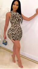 Leopard Sleeveless Backless Lace Up Mini Dress FOSF-8052