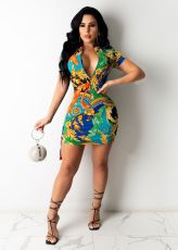 Sexy Printed Short Sleeve Mini Dress ANNF-6057