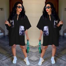 Fashion Casual Print Short Sleeve Shirt Dress AL-234