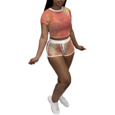 Hollow Out Sexy Fashion Tie-dye Grid Perspective Two Piece Sets BLX-8202