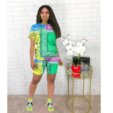Casual Printed Short Sleeve T-shirt Shorts Two Piece Sets AWN-5202