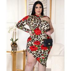 Plus Size Leopard Print Sexy Single Sleeve Midi Dress ASL-7017