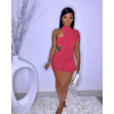 Fashion Tube Top And Asymmetry Rompers Two Piece Set MX-1182