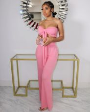 Fashion Slim Fit Lace-up Chest Wrap And Pants Two Piece Sets BLX-8201